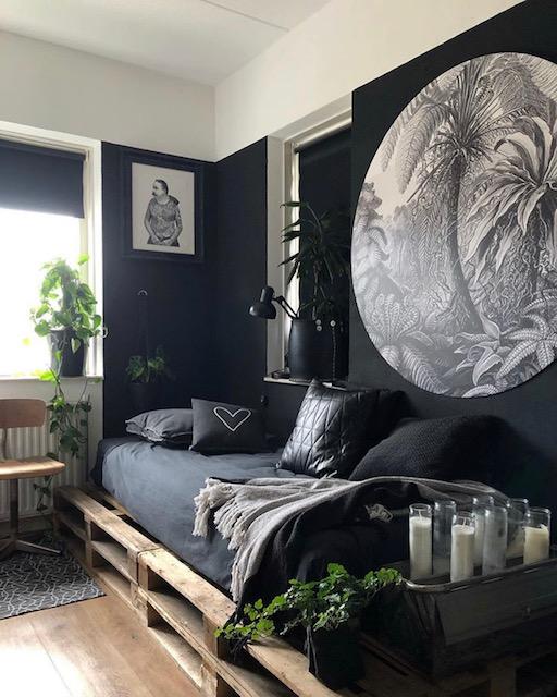 slaapkamer bed op pallets Olaifje