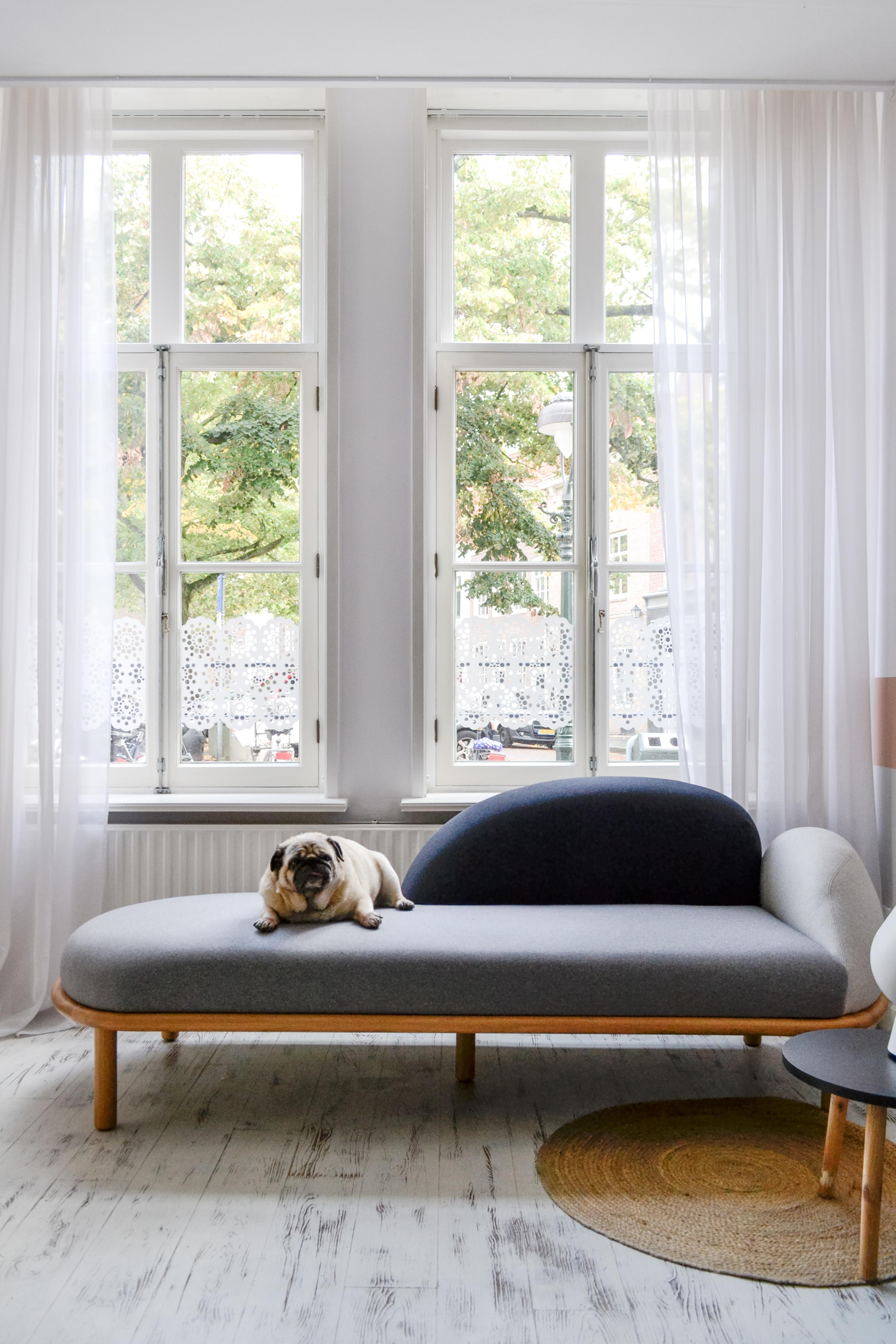 Bankje voor hoge ramen met hond fijnthuiszijn