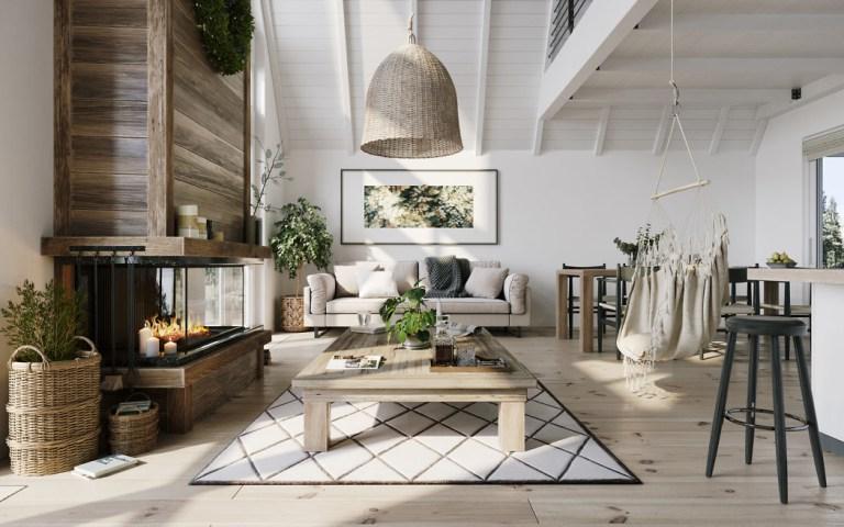 Botanisch interieur met hout